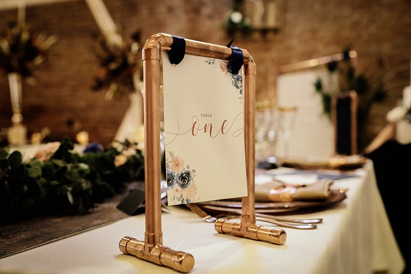 Copper Wedding Stationery, Navy Wedding Stationery, Luxury Wedding Stationery, Wedding Stationer North Lincolnshire, Copper Table Decor