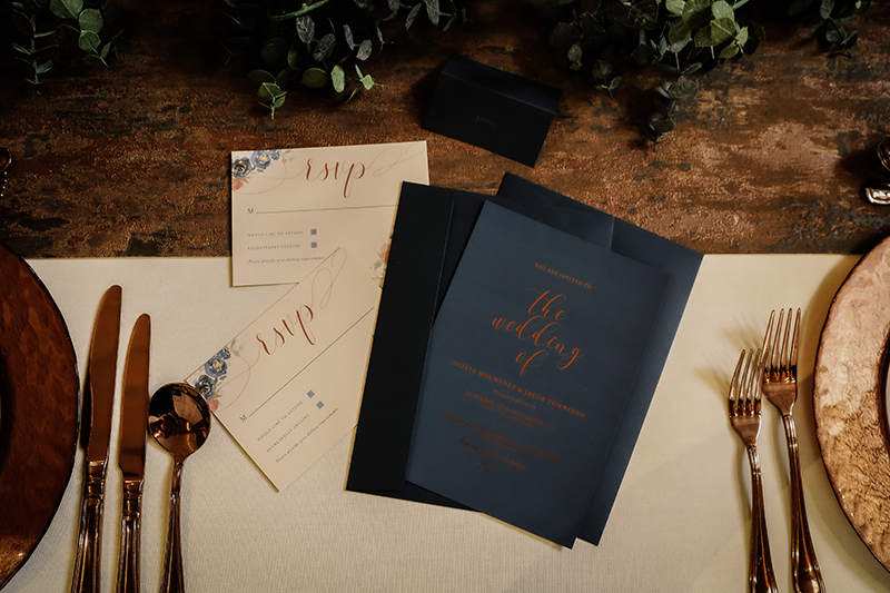 Navy Copper Wedding Stationery, Foiling Wedding Stationery, Foiled Wedding Stationery, Wedding Stationery North Lincolnshire