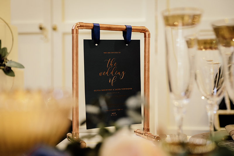 Copper Wedding Stationery, Navy Wedding Stationery, Luxury Wedding Stationery, Wedding Stationer North Lincolnshire, Copper Table Decor, Wedding Invitation
